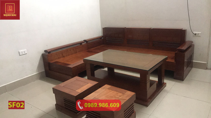 Bộ ghế sofa góc trứng gỗ xoan đào SF02