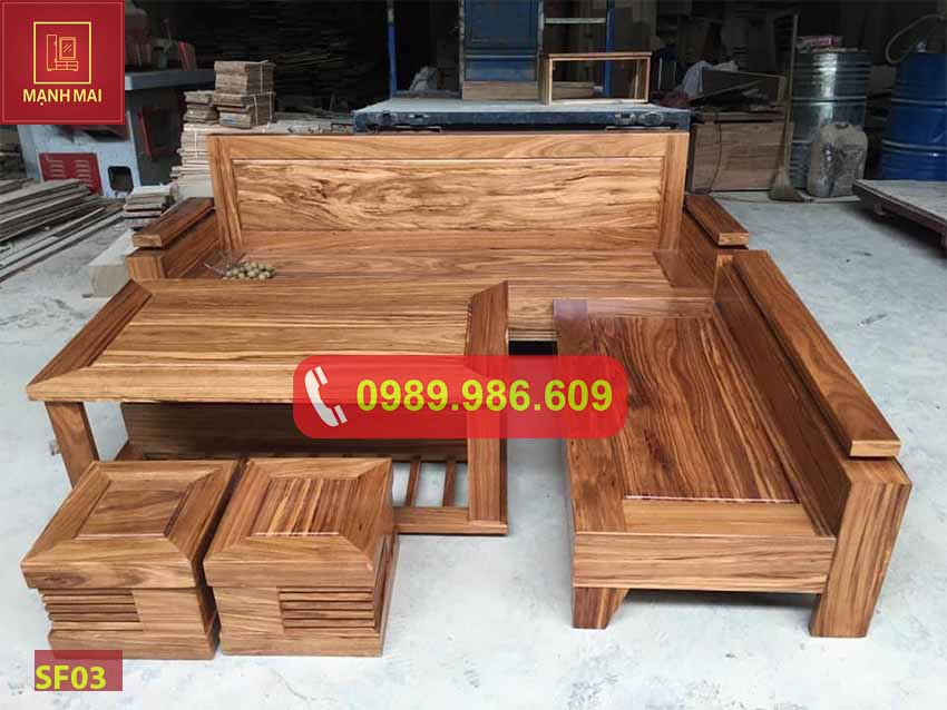 Bộ ghế sofa hộp chữ L tay trứng gỗ hương xám SF03