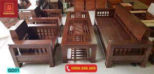 Bộ ghế đối tay vuông gỗ xoan đào GD01