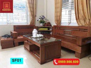 Bộ ghế sofa góc chữ L để lọ hoa gỗ sồi Nga SF01