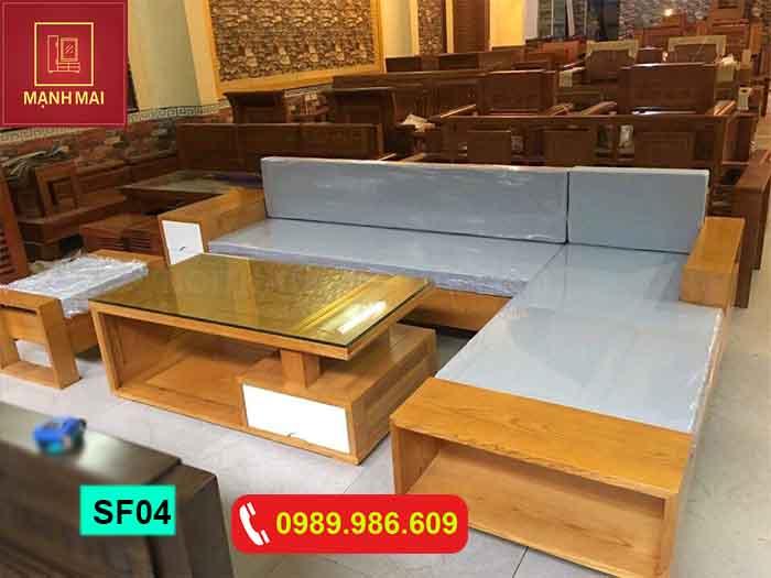 Bộ ghế sofa hộp chữ L gỗ sồi Nga SF04