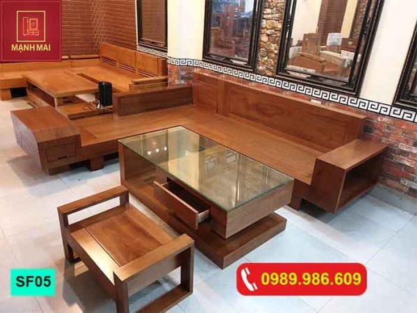 Bộ ghế sofa hộp chữ L gỗ xoan đào SF05