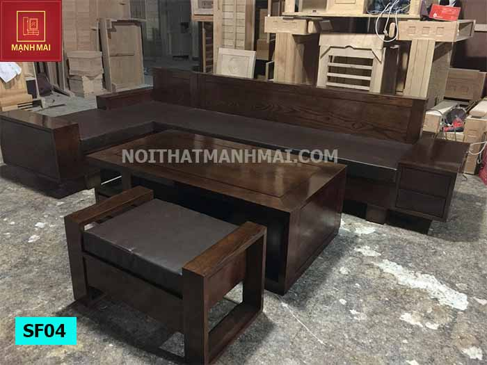 Bộ ghế sofa hộp chữ L 2 ngăn kéo gỗ sồi Nga SF04