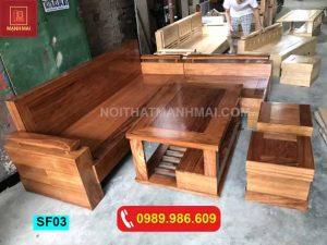 Bộ ghế sofa hộp chữ L gỗ hương xám SF03
