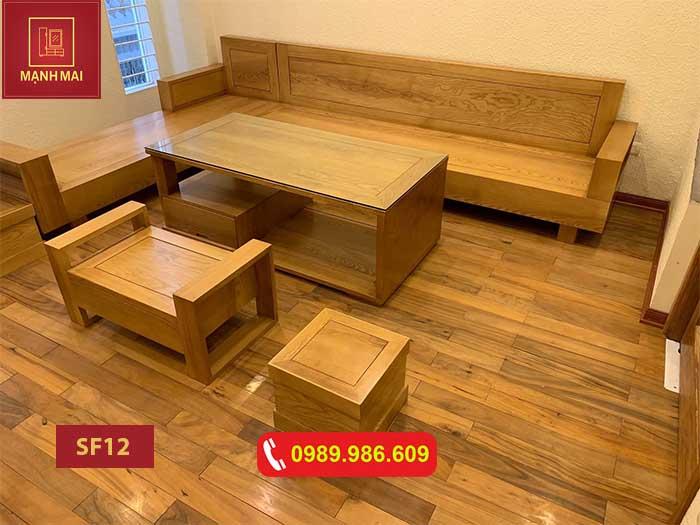 Bộ ghế sofa hộp 2 tay gỗ sồi Nga SF12