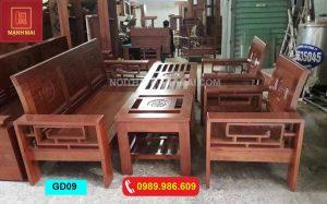 Bộ ghế tựa cong gỗ xoan đào GD09