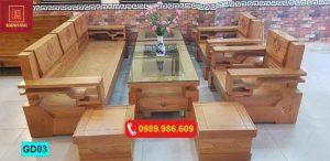 Bộ ghế đối đơn giản gỗ sồi Nga GD03