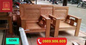 Bộ ghế đối tựa gỗ sồi Nga GD06