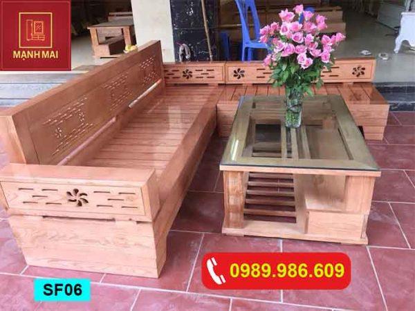 Bộ ghế sofa góc hoa gỗ sồi Nga SF06