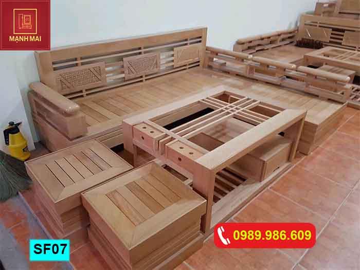 Bộ ghế sofa góc cót 3 lá gỗ sồi Nga SF07