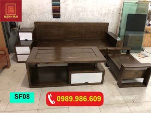 Bộ ghế sofa hộp gỗ sồi Nga màu óc chó SF08