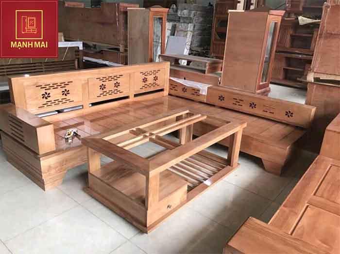 giá bàn ghế phòng khách gỗ sồi