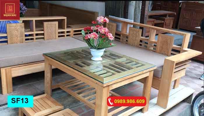 Bộ ghế sofa góc nhỏ gỗ sồi Nga SF13