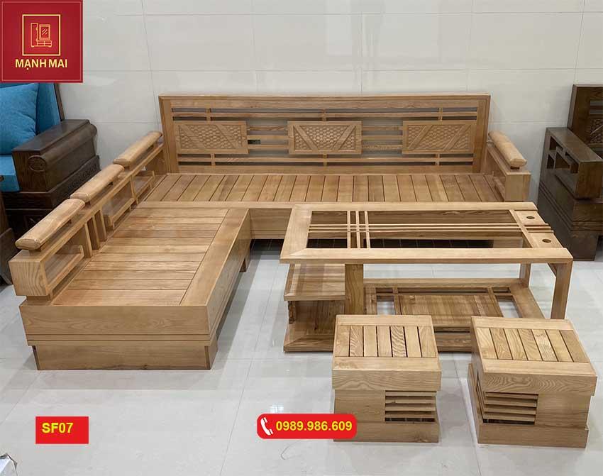 sofa góc cót 3 lá gỗ sồi Nga SF07