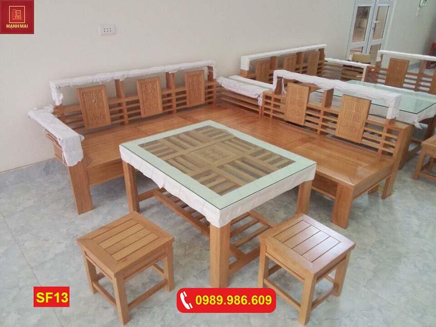 sofa góc nhỏ gỗ sồi Nga SF13