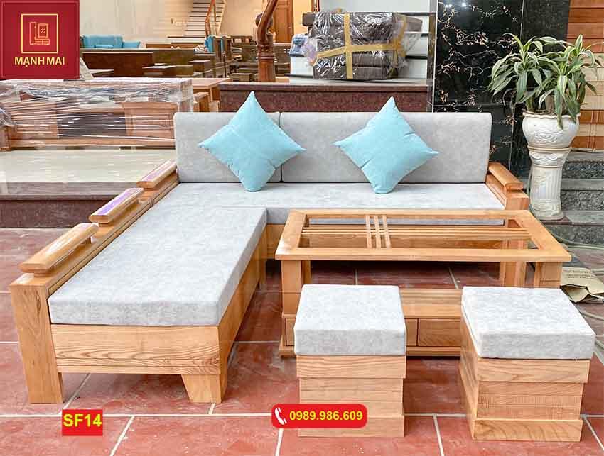 sofa góc trứng nhỏ gỗ sồi SF14
