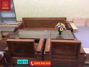 Bộ ghế đối tựa tay trứng gỗ xoan đào GD15