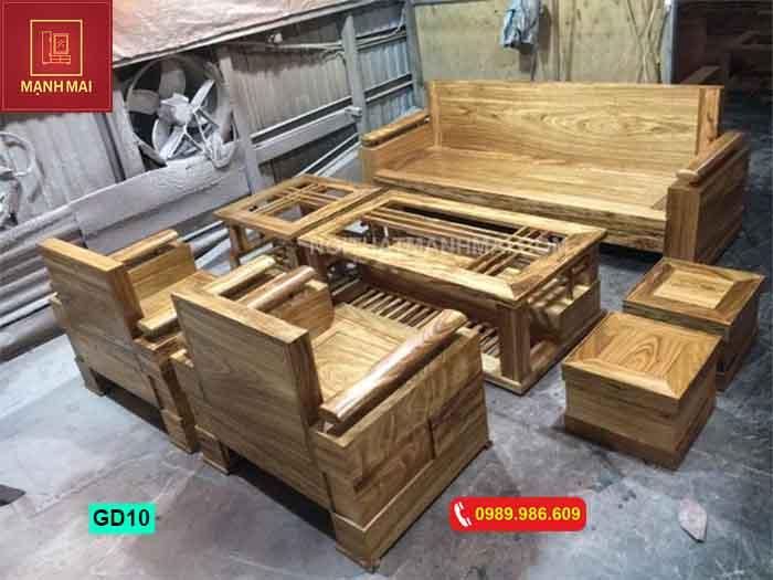 Bộ ghế đối tựa gỗ hương xám GD10