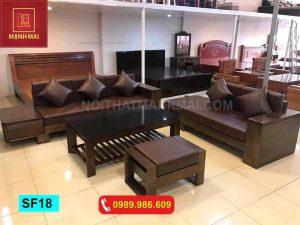 Bộ ghế sofa hộp kiểu Nhật chân vuông gỗ sồi Nga SF18