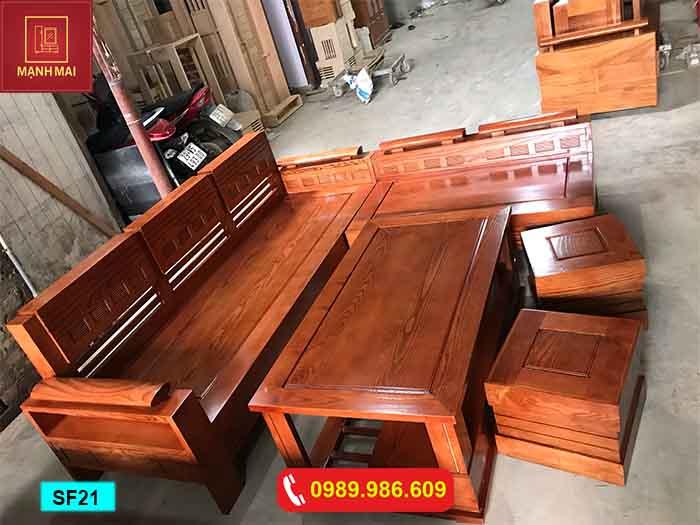 Bộ ghế sofa tay trứng gỗ sồi Nga phun màu óc chó nâu SF21