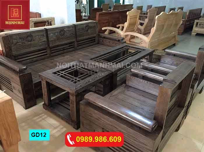 Bộ ghế đối trứng bộ gỗ sồi Nga màu óc chó GD12
