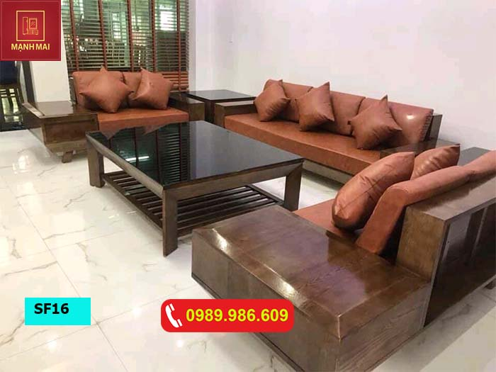 Bộ ghế sofa 2 văng chân oải kiểu Nhật gỗ sồi Nga SF16