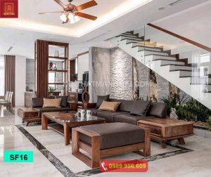 Bộ ghế sofa 2 văng kiểu Nhật gỗ sồi Nga SF16