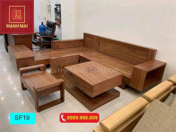 Bộ ghế sofa hộp ngăn kéo vuông gỗ xoan đào SF19