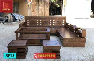 Bộ ghế sofa tay chéo góc lá me gỗ sồi Nga SF15