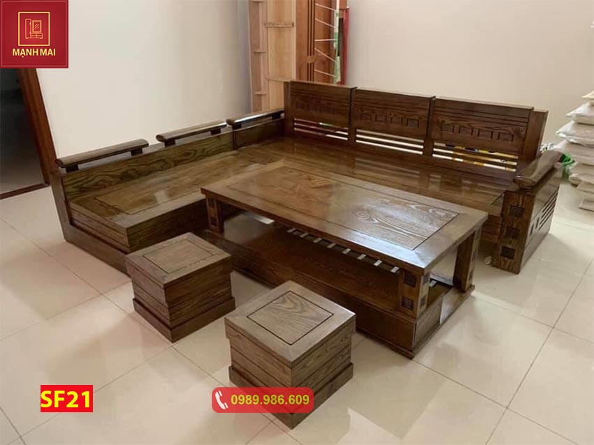 Bộ ghế sofa tay trứng gỗ sồi Nga phun màu óc chó SF21