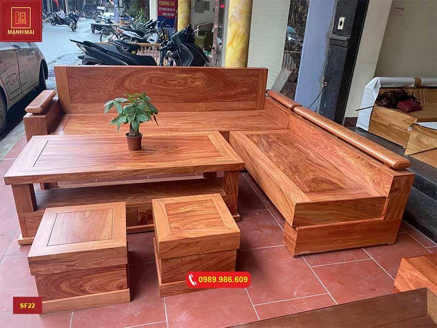 bộ ghế sofa góc trứng gỗ hương xám SF22