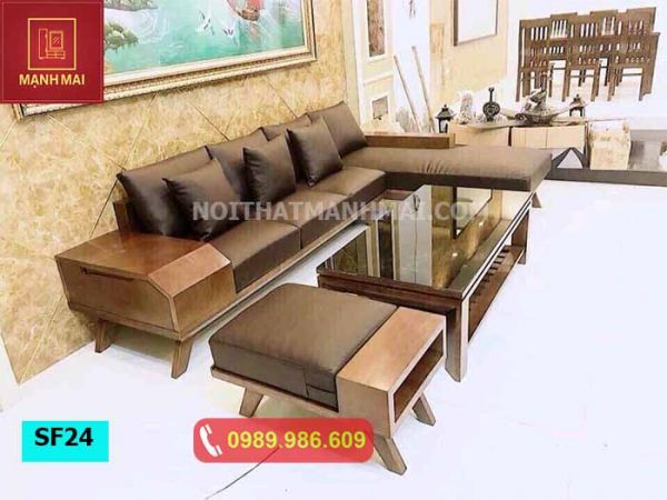 Bộ ghế sofa hộp chân oải gỗ sồi Nga SF24