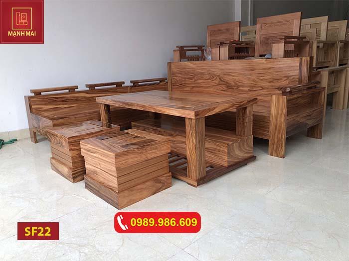Bộ ghế sofa góc chữ L gỗ hương xám đá SF22