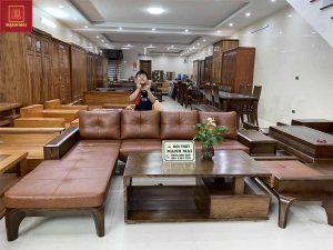 Bộ ghế sofa hộp chân cong gỗ sồi Nga SF25