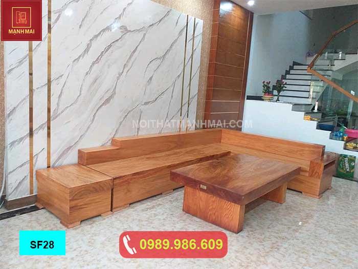 Bộ ghế sofa hộp gỗ gõ đỏ SF28