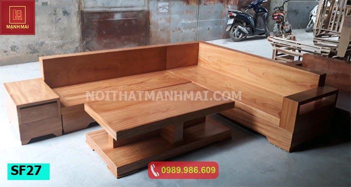 Bộ ghế sofa hộp ngăn kéo gỗ gõ SF27