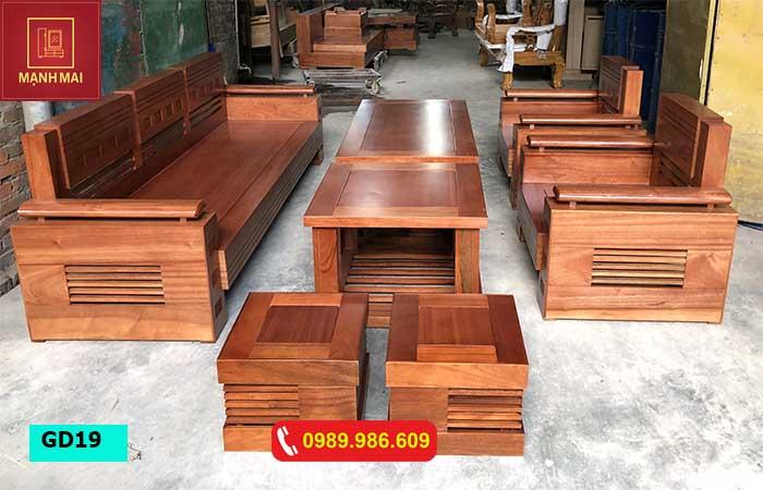 Bộ ghế đối tay trứng gỗ xoan đào GD19
