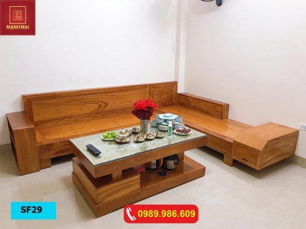 Bộ ghế sofa ngăn kéo vát gỗ gõ đỏ SF29