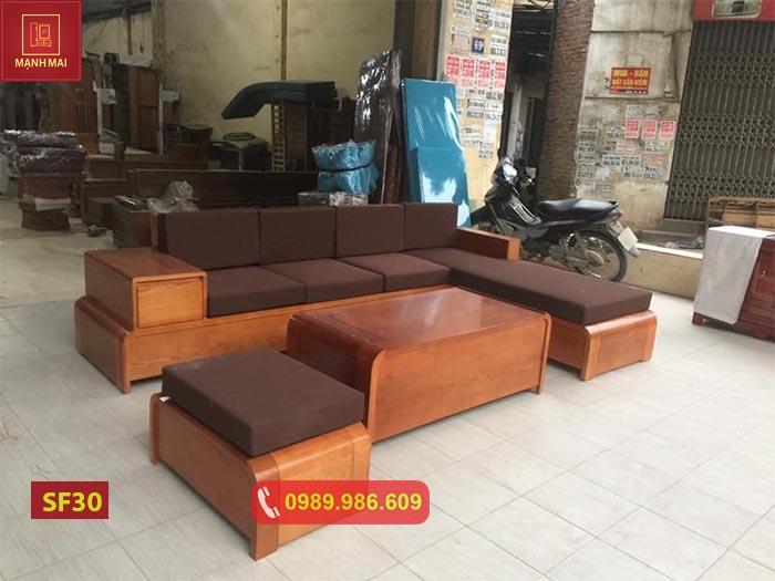Bộ ghế sofa chân cong bàn cong gỗ sồi Nga SF30