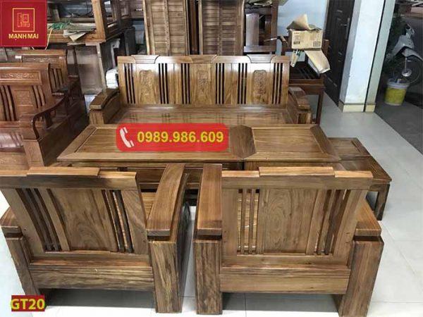 Bộ bàn ghế đối tay 14 gỗ hương xám GT20