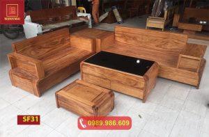 Bộ ghế sofa chân cong bàn cong gỗ hương xám cao cấp SF31