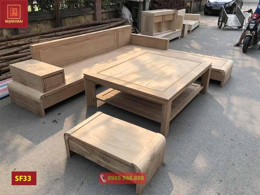 Bộ ghế sofa chân cuốn gỗ hương xám SF33