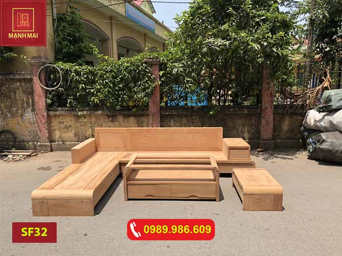 Bộ ghế sofa chân cuốn gỗ gõ đỏ SF32