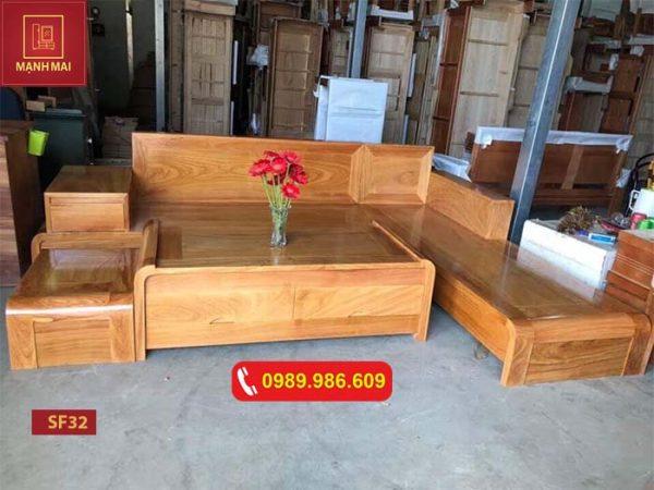 Bộ ghế sofa chân cong bàn cong gỗ gõ đỏ SF32