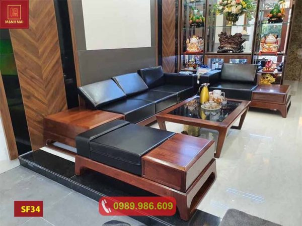 Bộ ghế sofa 2 văng chân quỳ chữ U gỗ óc chó SF34
