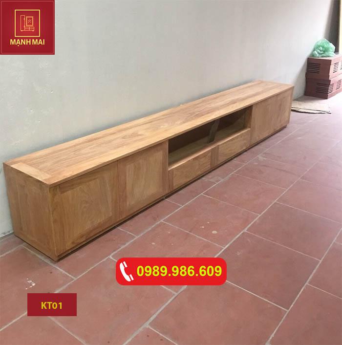 Kệ tivi 6 ngăn mặt chữ nhật gỗ sồi Nga KT01