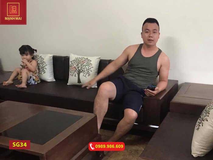 Bộ ghế sofa 2 văng chân vuông chữ U gỗ óc chó SF34