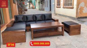Bộ ghế sofa 2 tay gỗ hương xám SF36