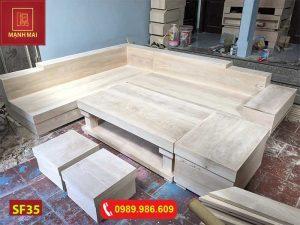 Bộ ghế sofa hộp giả nguyên khối gỗ sồi Nga SF35
