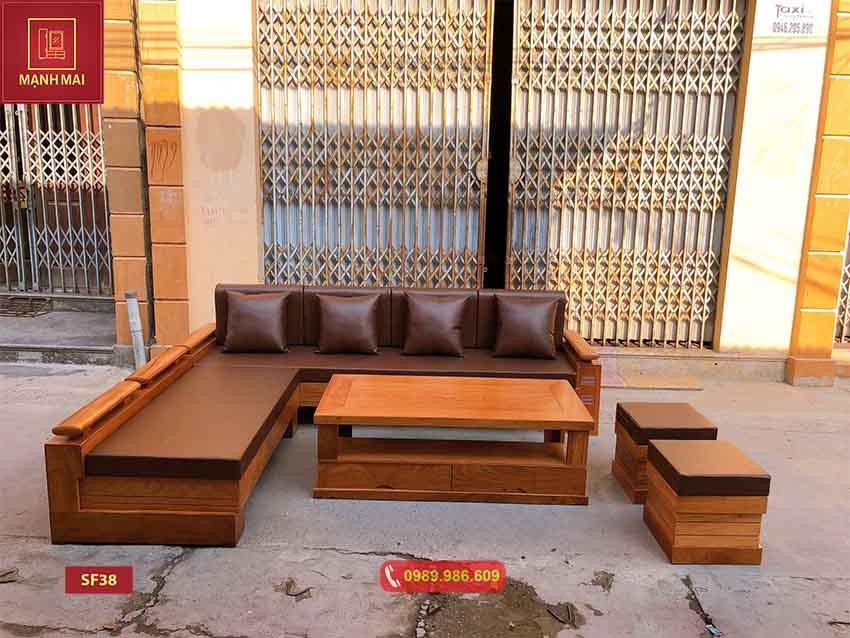Bộ ghế sofa tay trứng gỗ gõ đỏ SF38